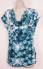 DKNY Jeans Womens Floral Shirt M Medium Cowl Neck Ruched Lightweight Blue Flower