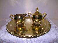 Vintage Brass Round Tray With Footed Cream & Sugar Dish - Very Nice - Hong Kong