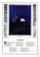 Nacht - Sommernacht XL Kunstdruck 1909 von Adalbert Holzer Gedicht Fritz Stöber