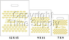 "WHITE & GOLD PLASTIC BAGS STORE BAGS JEWELRY BAGS "" Thank You "" LOT OF 100"