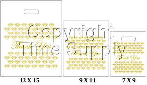 """WHITE & GOLD PLASTIC BAGS STORE BAGS JEWELRY BAGS """" Thank You """" LOT OF 100"""