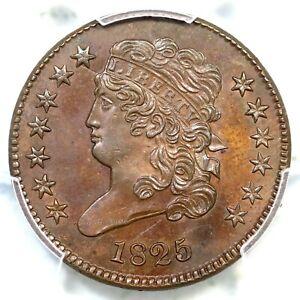 1825 C-1 R-3 PCGS MS 62 BN Classic Head Half Cent Coin 1/2c