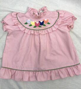 Vtg Alyssa Girls Dress Sz 2 Tulips Pink Striped Toddler ruffles stripes flowers