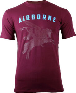 Maroon Pegasus Large Logo Airborne T-Shirt British 6th Airborne Division Cotton