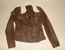 BNWT OASIS BROWN FAUX LEATHER AVIATOR BIKER JACKET SIZE XS
