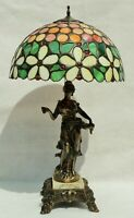 Antique c1910 Art Nouveau Leaded Slag Glass Figural Woman Spelter Table Lamp