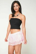 Pink Lace Micro Mini Skirt Women's  Girls High Waist Party Club Tierred 079