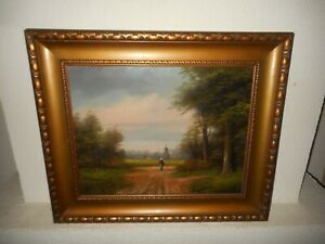 Old oil painting,{ Woman walking, windmill and trees, is signed and antique! }.