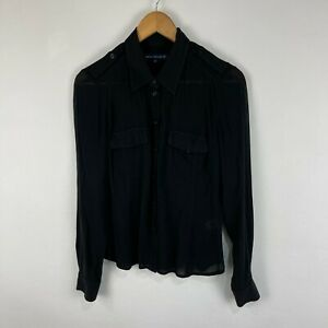 French Connection Womens Shirt Top Size 10 Black Long Sleeve Collared 63.31