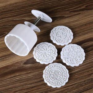 4 stamps flower mooncake moon cake diy round mold baking craft tool set U HfHCA