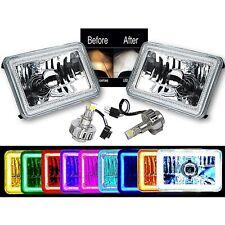 "4X6"" RGB COB Color Changing Halo Headlight 6K LED H4 Light Bulb Headlamp Pair"