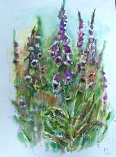 Original floral art impressionist watercolour acrylic painting of 'Foxgloves'