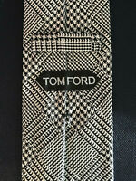 New Tom Ford Mens Necktie Tie Black White Houndstooth Plaid Slim 3 X 58.25