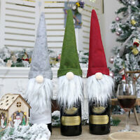 Christmas Decorations for Home Claus Wine Bottle Cover Snowman Stocking Gift CA