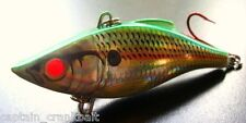 Rattlin Rapala RNR-08 Lure H. Emerald Shad w/Custom GLOWING RED FIBER OPTIC EYES