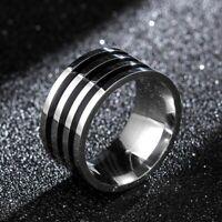Hochwertig Vintage 10 mm Silber Schwarz Titan Ring für Herren cRUWK.DezYL