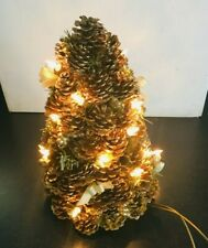 Konstsmide Indoor Illuminated Christmas Tree Made of Faux Gold Pine Cones JC118