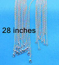 "Wholesale Sale 28"" 10PCS Fashion Jewelry 925 Silver plated Cross Chains Necklace"