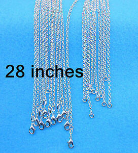 """Wholesale Sale 28"""" 10PCS Fashion Jewelry 925 Silver plated Cross Chains Necklace"""