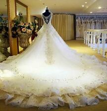 Custom New Luxury Swarovski crystals cathedral train wedding bridal dress gown