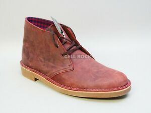 Clarks Shoes BUSHACRE 2 CHUKKA BOOTS Leather Size 12 M -AUBERGINE- -RED- NO BOX
