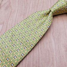 Salvatore Ferragamo Yellow & Green Geometric w Small Elephant Palm Tree Silk Tie
