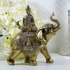 More details for buddha elephant gold jewels ornament figurine statue jumbo lucky trunk up gift