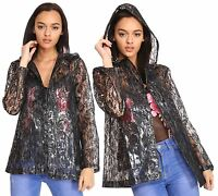 New Womens Floral Lace Patterned Hooded Light Rain Jacket Mac