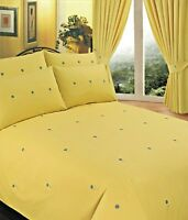 DOUBLE BED DUVET COVER SET EMBROIDERY BELLIS YELLOW FLORAL GREEN BLUE DAISY
