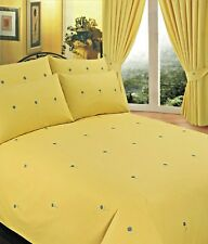 KING SIZE DUVET COVER SET EMBROIDERY BELLIS YELLOW FLORAL GREEN BLUE DAISY