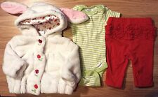 Girl's Size 0-3 M Months 3 Pc Plush Bunny Ear Floral Gymboree Jacket, Top, Pants