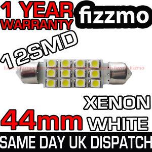 43mm 44mm INTERIOR LIGHT FESTOON BULB 12 SMD LED XENON WHITE NUMBER PLATE UK