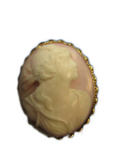Estate Raised Hand Carved Pink Conch Shell Pin Pendant Cameo 14k Yellow Gold