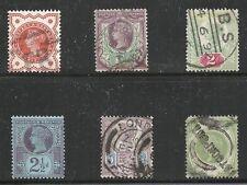 Great Britain Scott #111-14, 118 & 122, Singles 1887-92 FVF Used