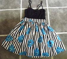 "LADIES BLACK WHITE BLUE FLORAL SUMMER BEACH DRESS UK 10 EUR 38 CHEST 34"" 87cm"