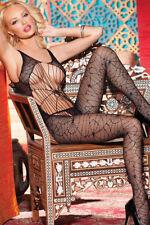 Black Spider Web Cobweb Sleeveless Bodystocking Lingerie One Size 8-12