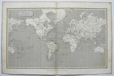 1807 Arrowsmith Antique Map The World on Mercator's Projection USA Sioux Indians