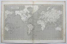 1807 ARROWSMITH Antica mappa del mondo su Mercator's Projection USA Sioux indiani