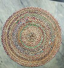 Indian Handmade Jute Round Floor Rug Chindi Yoga Mat 3, 4, 5' Carpet Decor Throw
