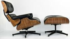 Lounge Chair and Footstool - Real Leather - Walnut wood
