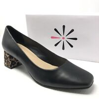 New ISAAC MIZRAHI womens Salena pumps black leather leopard block heels