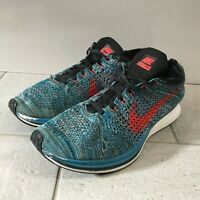 NIKE Fly Knit Trainers Mens Size UK 8.5 Blue Lightweight Running Sports Lace Up
