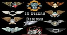 MACHINE EMBROIDERY DESIGNS - 15 BIKERS EMBROIDERY DESIGNS - PES DST JEF FORMATS