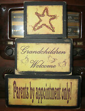 Grandchildren Welcome Primitive Rustic Stacking Blocks Wooden Sign Set
