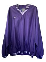 Reebok Vintage Purple White Windbreaker Pullover Lined Jacket Mens XL X-Large