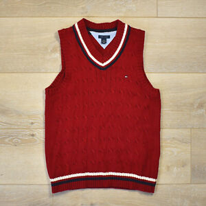 Tommy Hilfiger Knit Vest - Youth  V-Neck Red Striped Sweater Boys Kids Signature