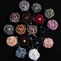 Fashion Lapel Flower Rose Handmade Boutonniere Stick Brooch Pin Men Accessories.