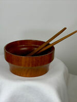 "Vintage MidCentury Modern Atapco Teak 10"" Bowl Hand Crafted with Serving Pieces"