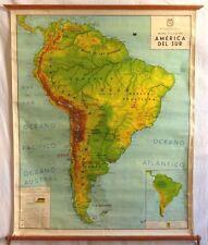 VINTAGE ROLL SCHOOL MAP AMERICA SOUTH - SUR 1965 ANTIQUE POSTER 101x120Cm CARTEL
