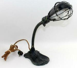 Rare Antique Steampunk Wire Cage Cast Iron Base Electric Gooseneck Desk Lamp